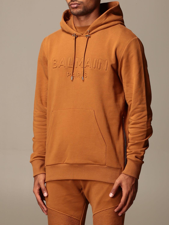 Felpa Balmain: Felpa Balmain con cappuccio e logo in rilievo cammello 4