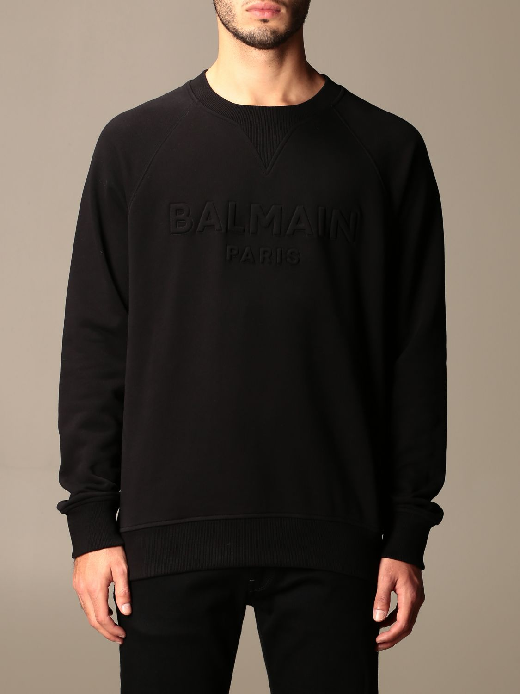 Sweatshirt Balmain: Balmain cotton sweatshirt with embossed logo black 1