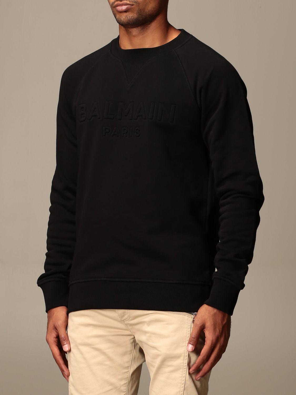 Sweatshirt Balmain: Balmain cotton sweatshirt with embossed logo black 4