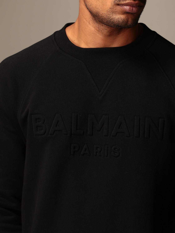 Sweatshirt Balmain: Balmain cotton sweatshirt with embossed logo black 5