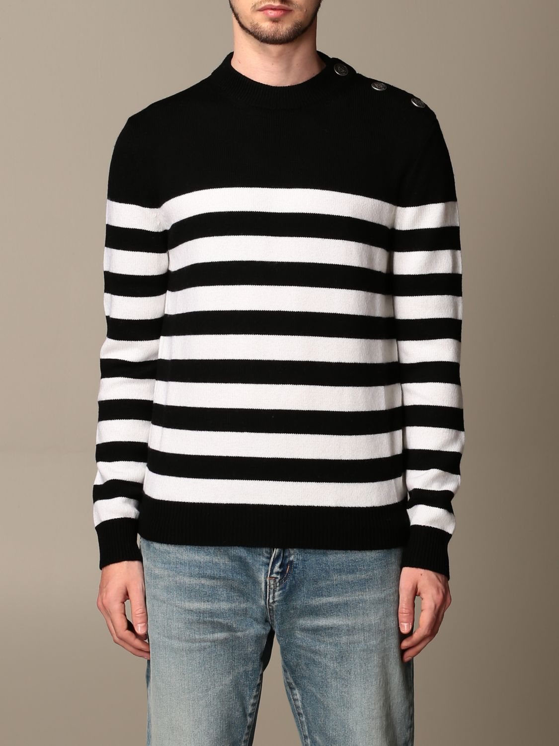 Sweater Balmain: Balmain striped pullover with buttons black 1