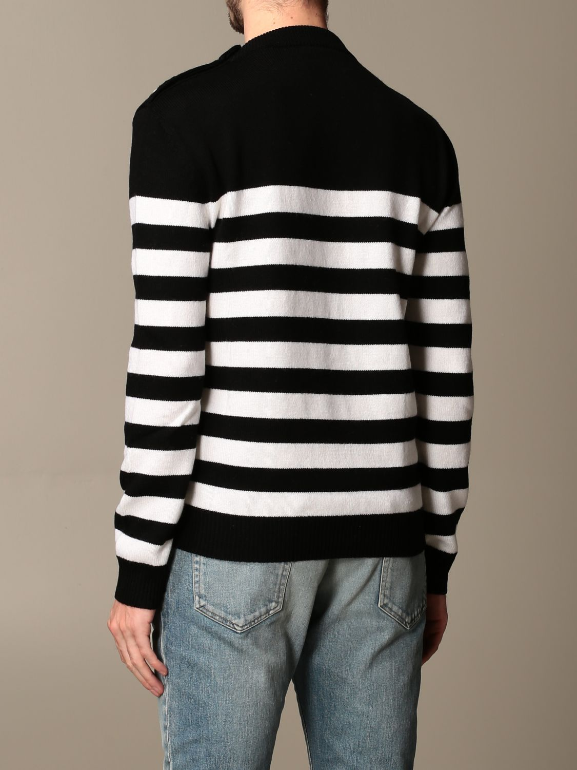 Sweater Balmain: Balmain striped pullover with buttons black 2
