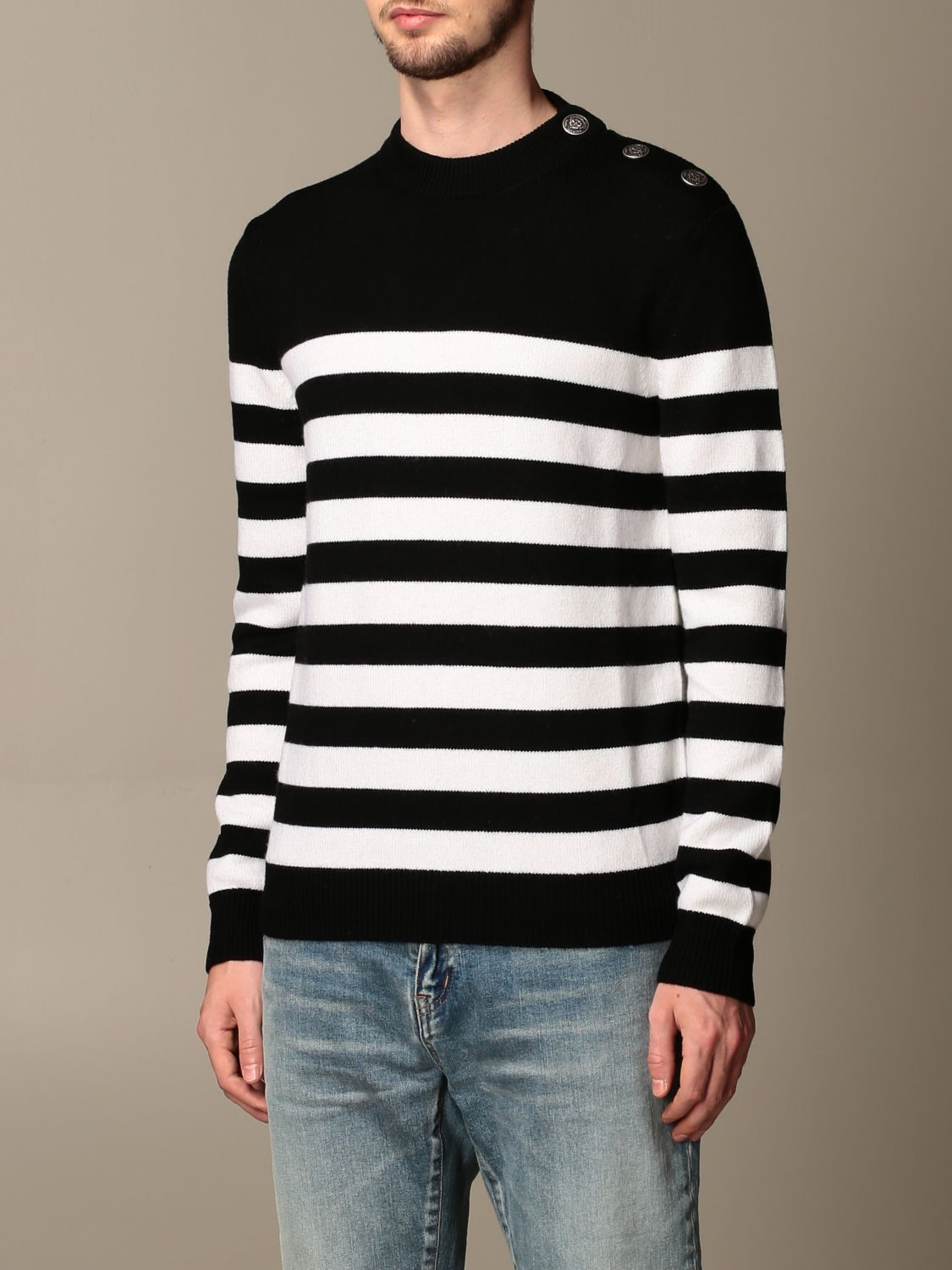 Sweater Balmain: Balmain striped pullover with buttons black 3
