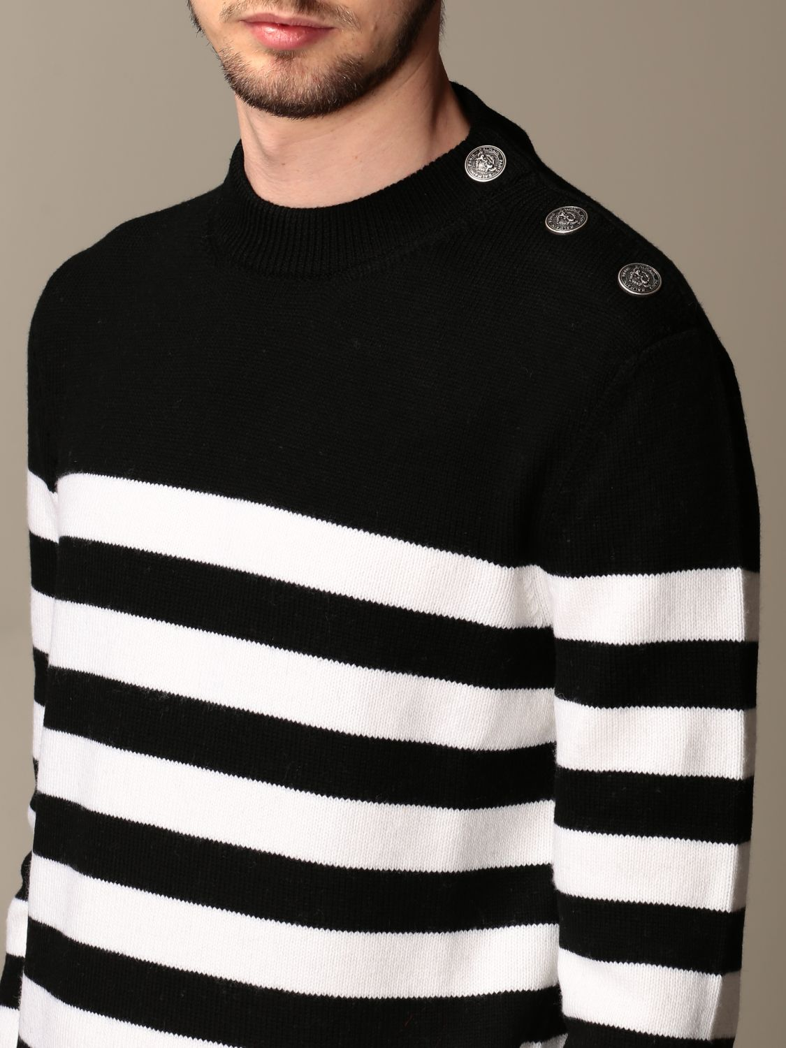 Sweater Balmain: Balmain striped pullover with buttons black 4