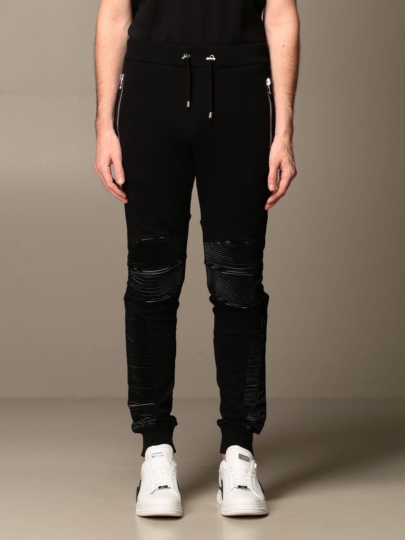 Pants Balmain: Balmain cotton jogging trousers black 1