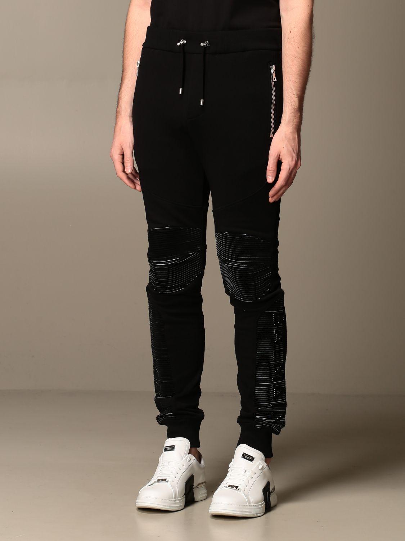 Pants Balmain: Balmain cotton jogging trousers black 3