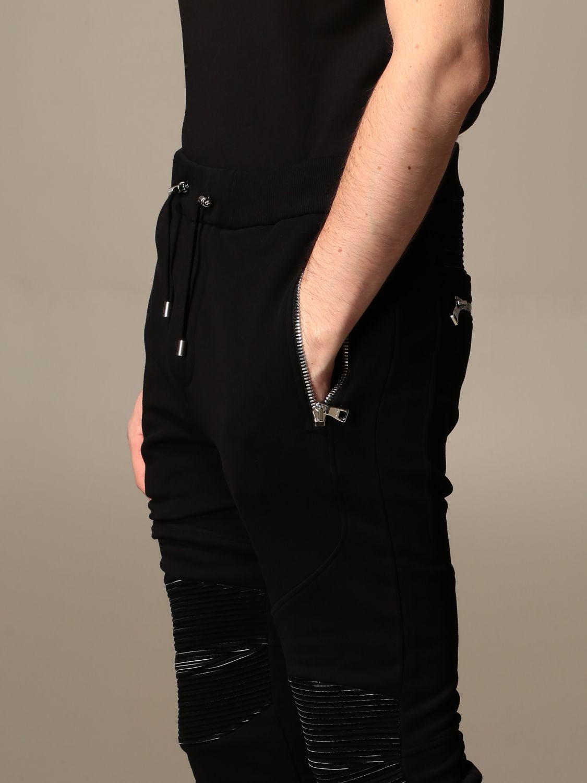 Pants Balmain: Balmain cotton jogging trousers black 4