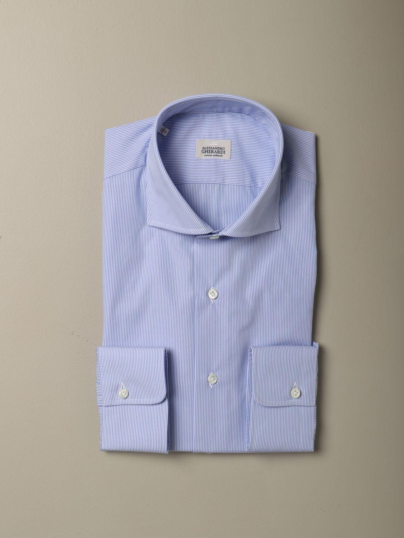 Camicia Alessandro Gherardi: Collo italiano sartoriale regular bacchettata con pince azzurro 1