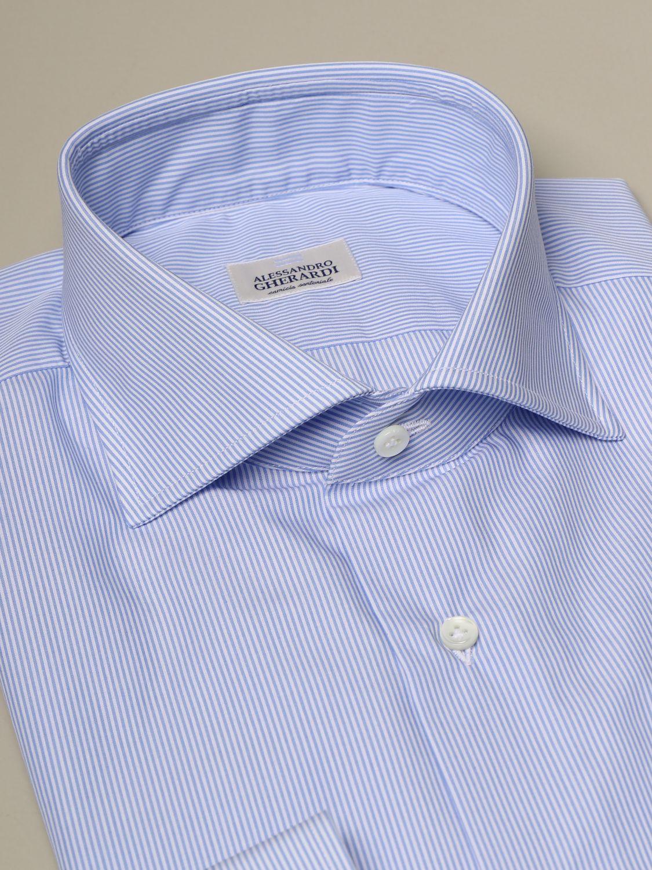 Camicia Alessandro Gherardi: Collo italiano sartoriale regular bacchettata con pince azzurro 2
