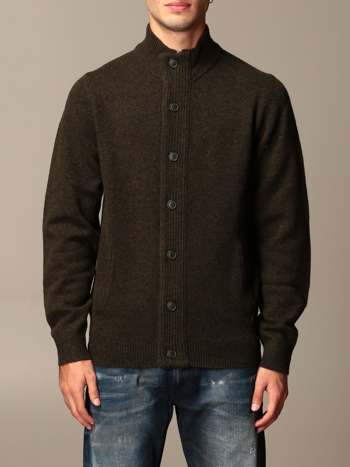 Cardigan Barbour: Barbour wool cardigan with buttons olive 1