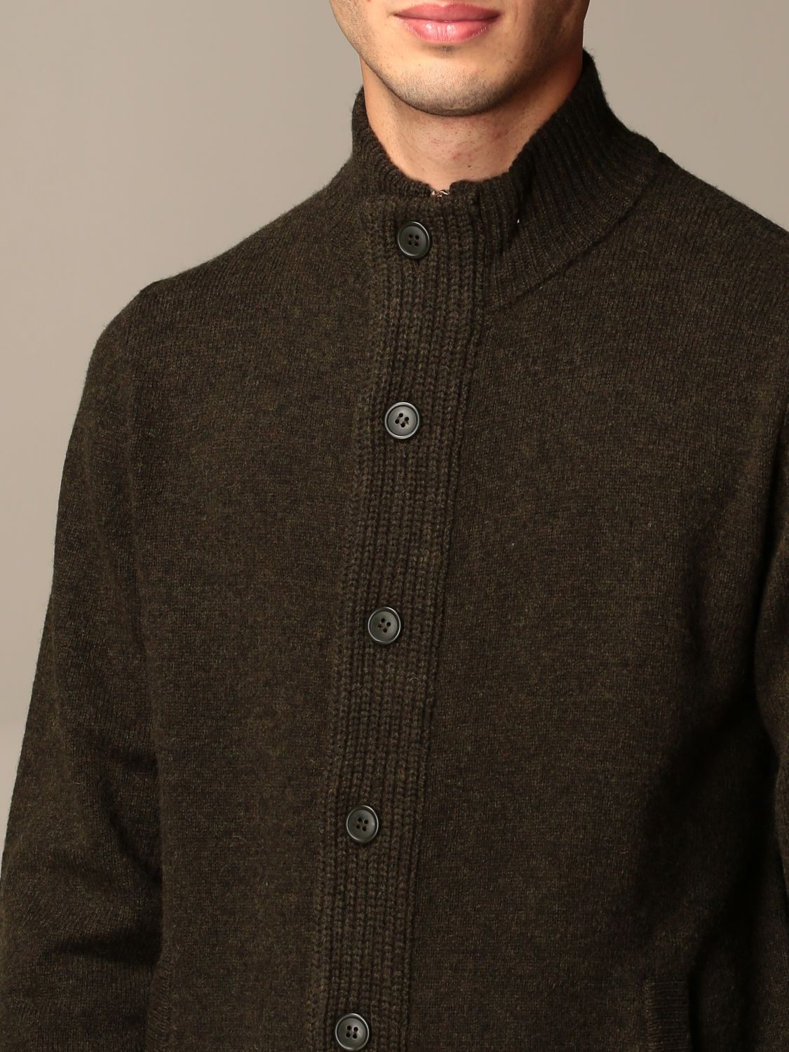 Cardigan Barbour: Barbour wool cardigan with buttons olive 3