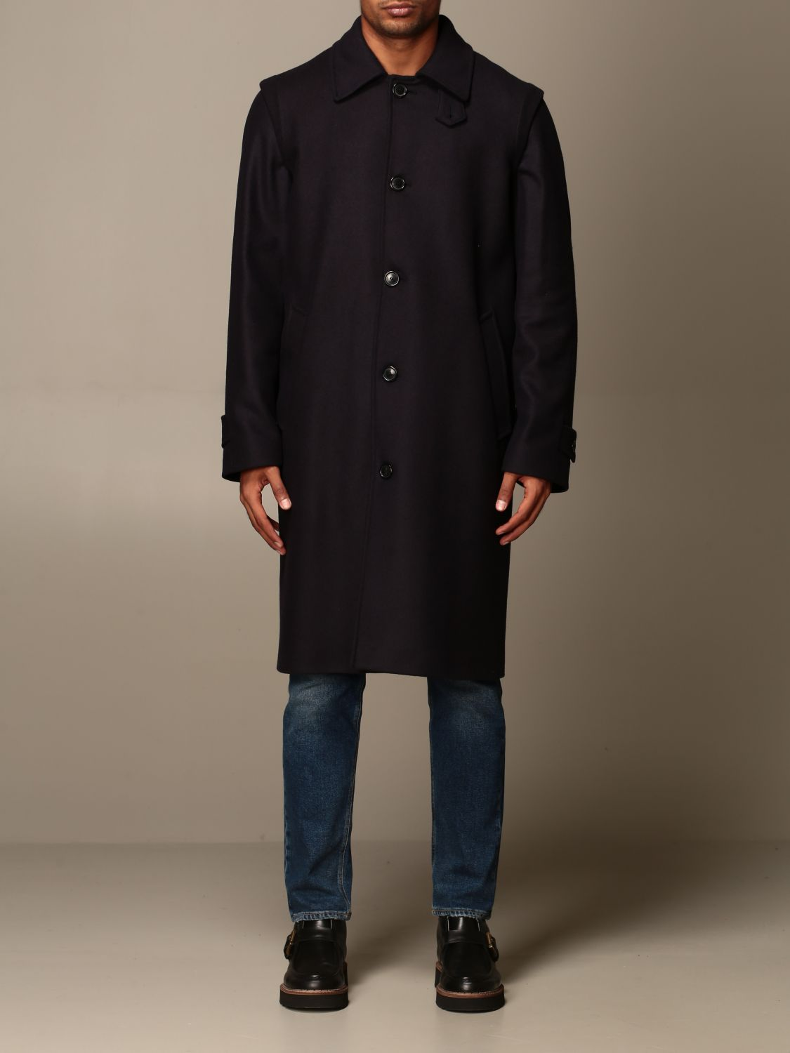 Coat Grifoni: Grifoni coat in woolen cloth and cashmere blue 1