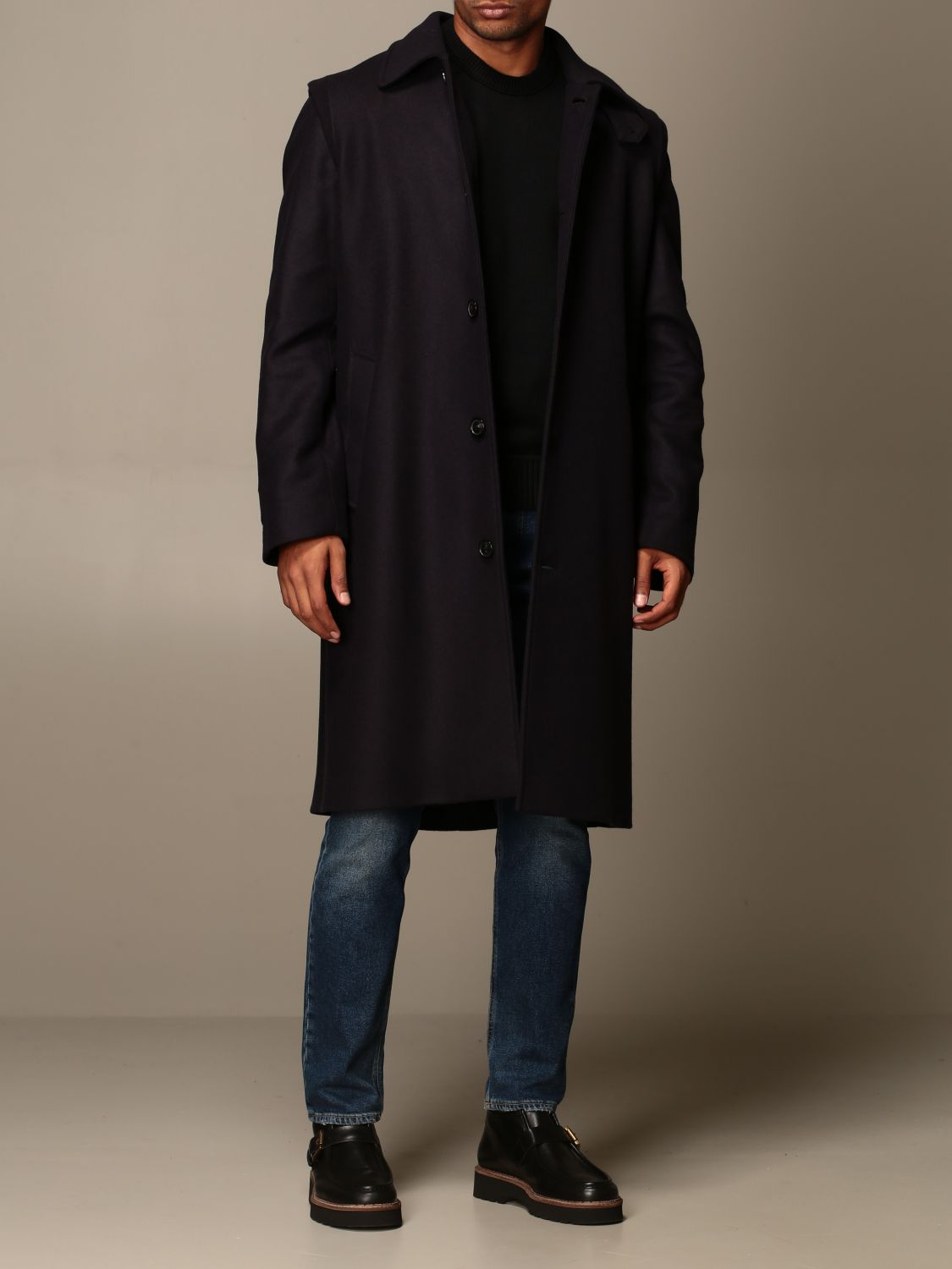 Coat Grifoni: Grifoni coat in woolen cloth and cashmere blue 2