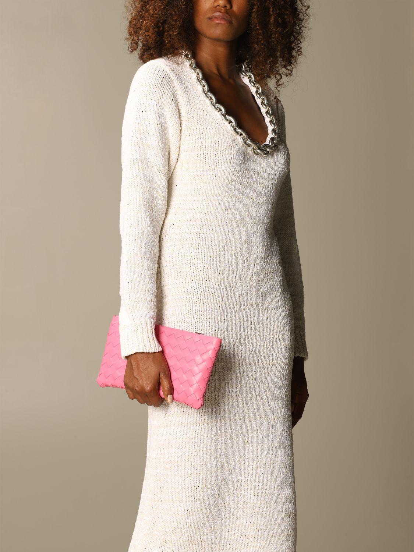 Clutch Bottega Veneta: Shoulder bag women Bottega Veneta pink 2