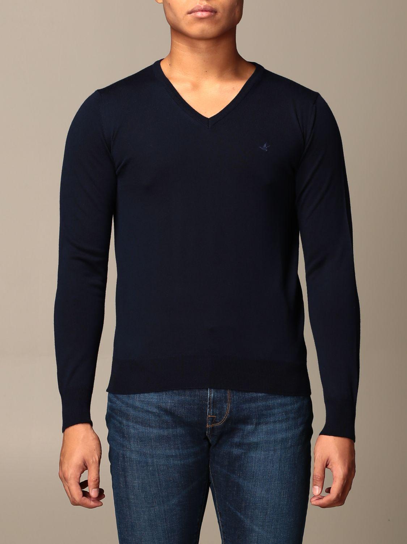 Maglia Brooksfield: Maglia a girocollo Brooksfield in lana Merino blue navy 1