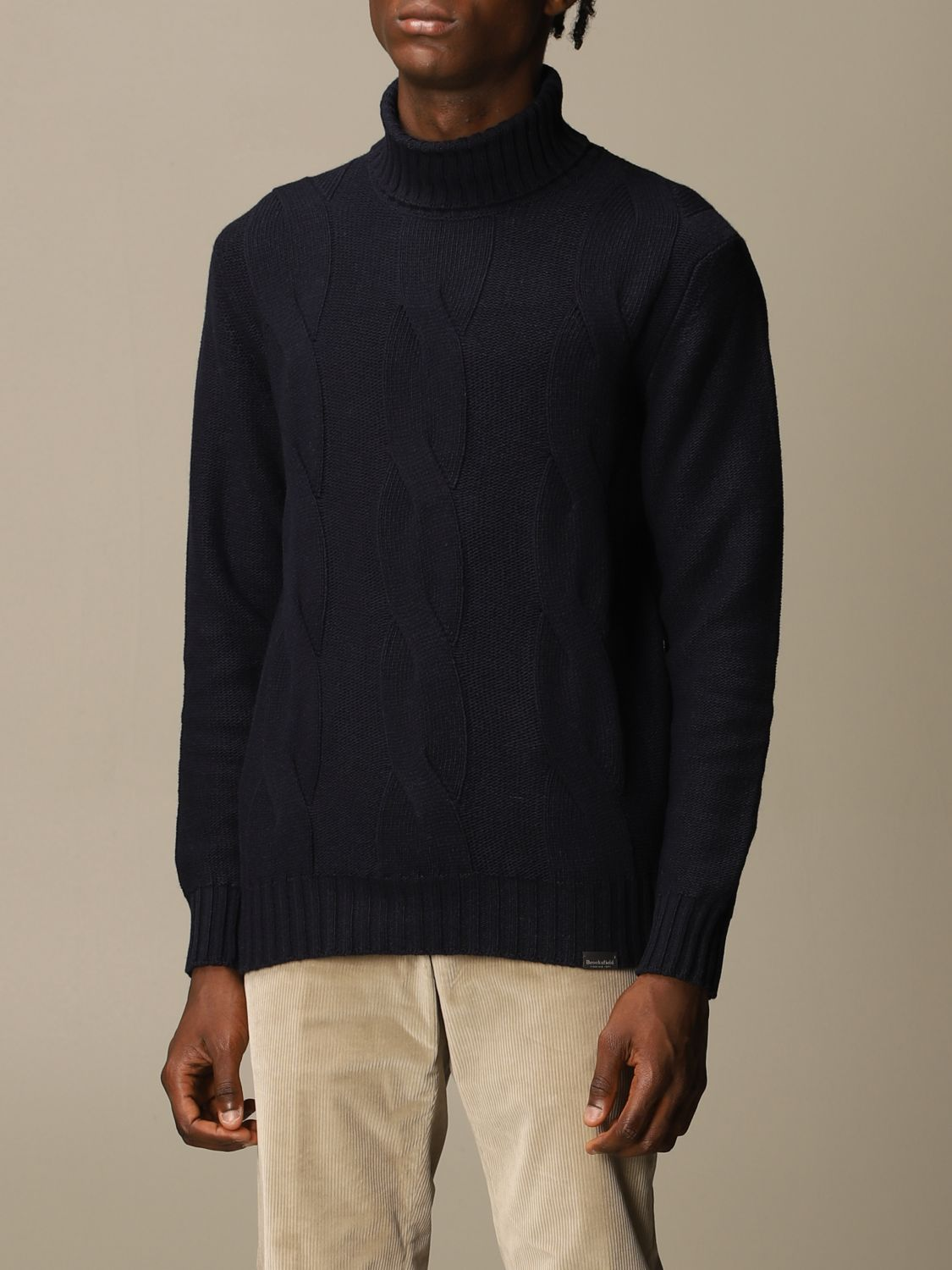 Sweater Brooksfield: Brooksfield turtleneck in wide cable knit blue 2