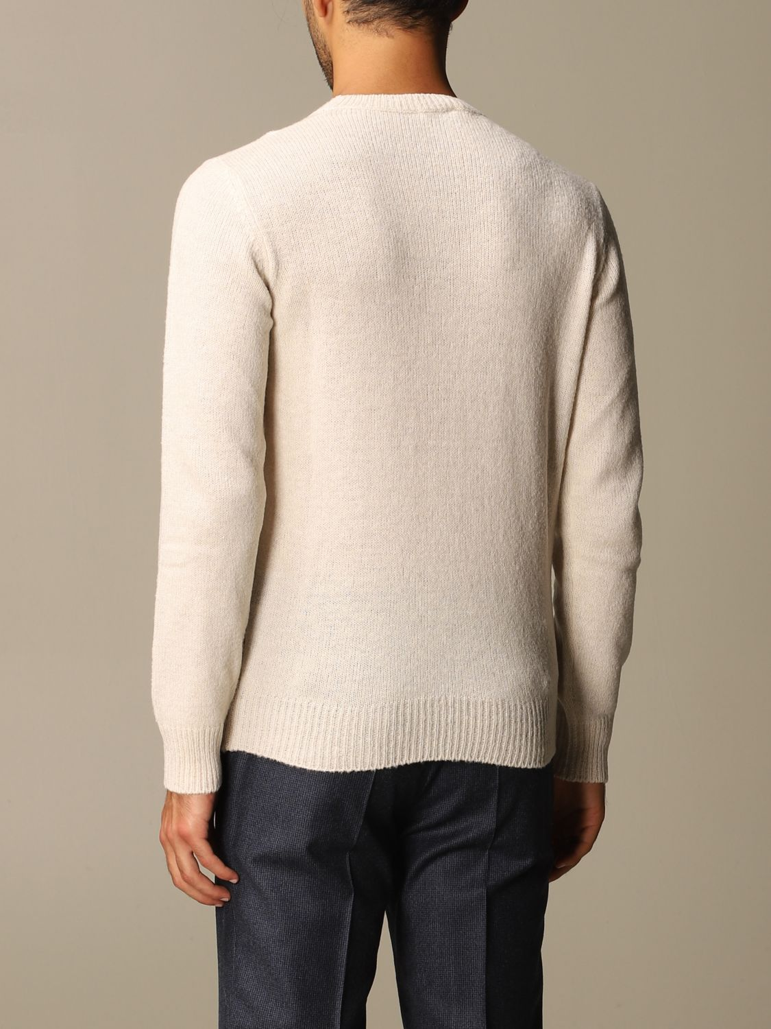 Sweater Brooksfield: Brooksfield crewneck sweater with jacquard writing yellow cream 2