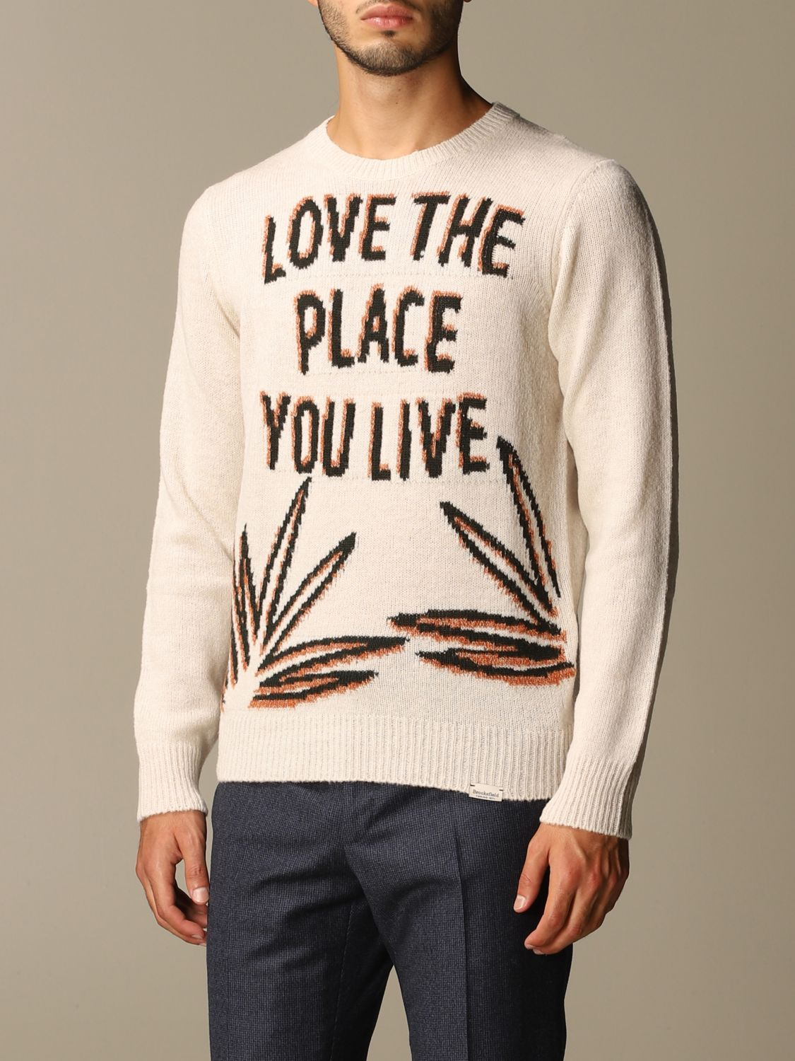 Sweater Brooksfield: Brooksfield crewneck sweater with jacquard writing yellow cream 3