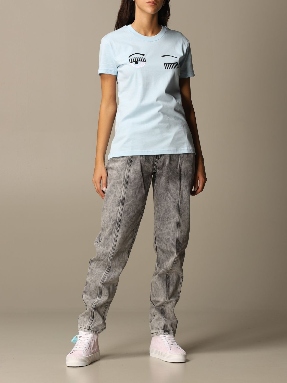 T-Shirt Chiara Ferragni: T-shirt women Chiara Ferragni sky blue 2