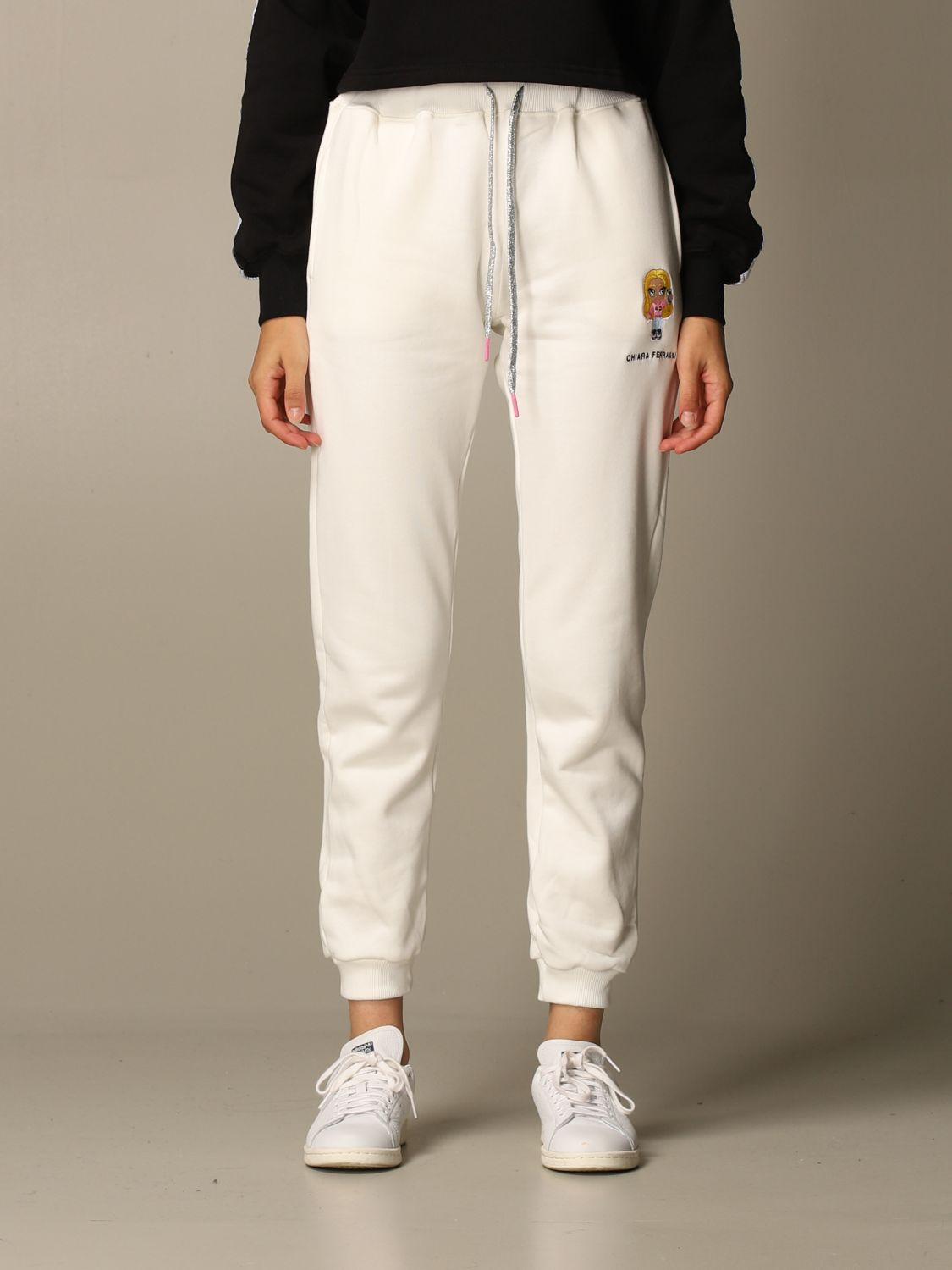 Trousers Chiara Ferragni: Trousers women Chiara Ferragni white 1