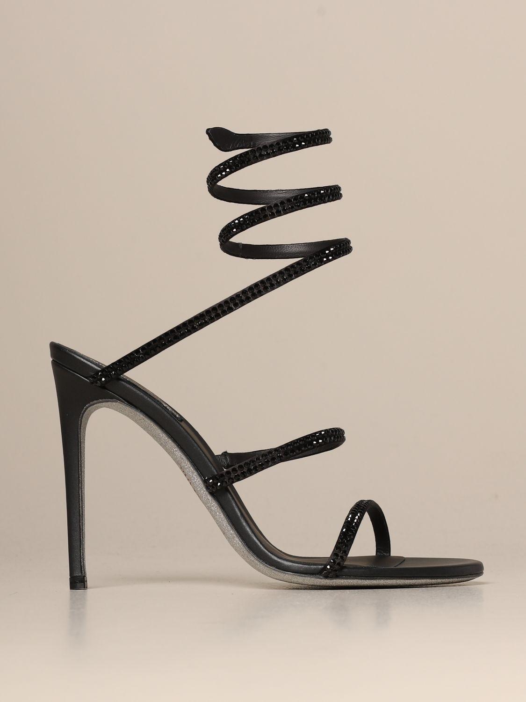 Heeled sandals Rene Caovilla: Cleo Snake René Caovilla sandal in satin with crystals black 1