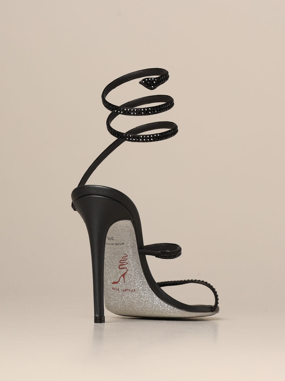 Heeled sandals Rene Caovilla: Cleo Snake René Caovilla sandal in satin with crystals black 3