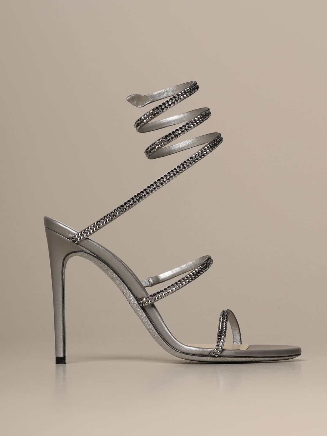 Heeled sandals Rene Caovilla: Cleo Snake René Caovilla sandal in satin with crystals silver 1