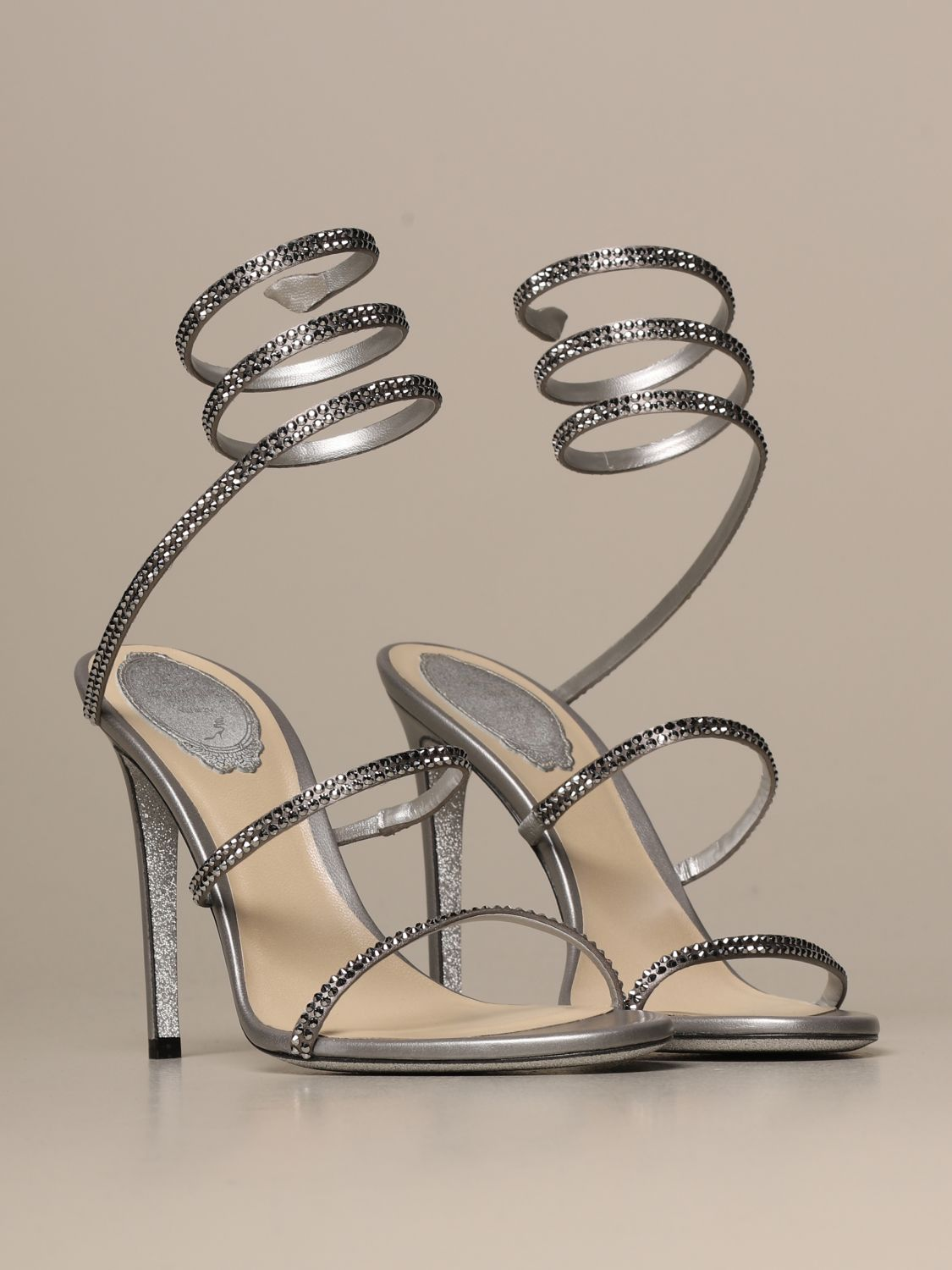 Heeled sandals Rene Caovilla: Cleo Snake René Caovilla sandal in satin with crystals silver 2