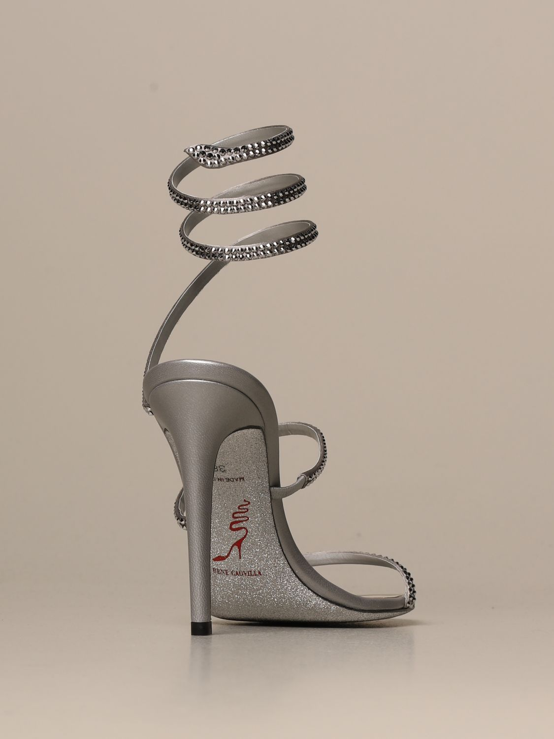 Heeled sandals Rene Caovilla: Cleo Snake René Caovilla sandal in satin with crystals silver 3