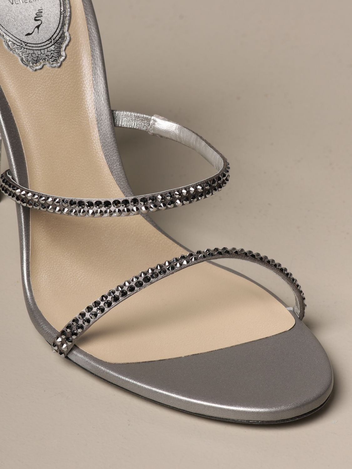 Heeled sandals Rene Caovilla: Cleo Snake René Caovilla sandal in satin with crystals silver 4