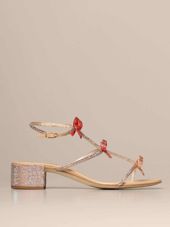 Heeled sandals Rene Caovilla: Caterina René Caovilla sandal in satin with rhinestones pink 1