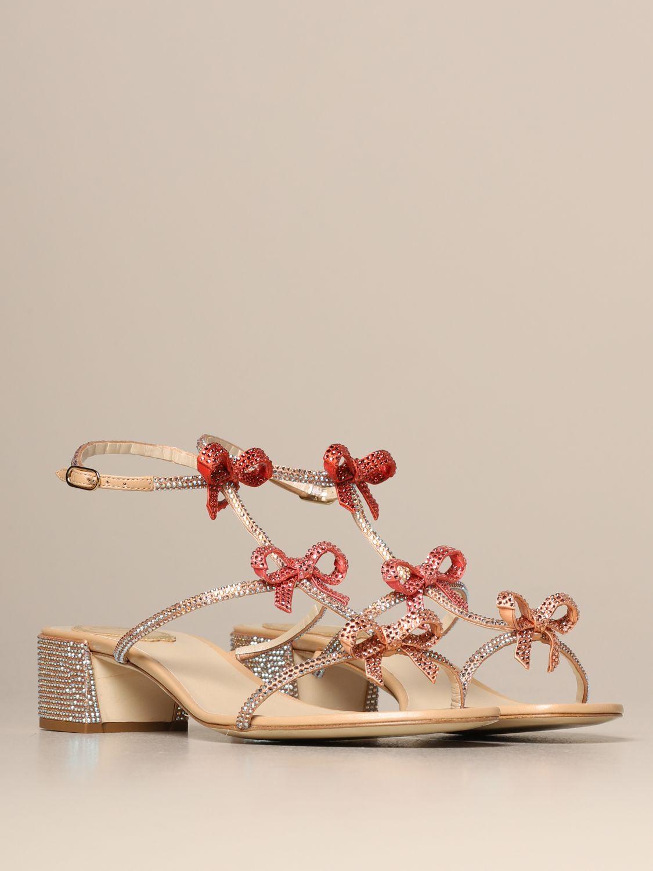 Heeled sandals Rene Caovilla: Caterina René Caovilla sandal in satin with rhinestones pink 2