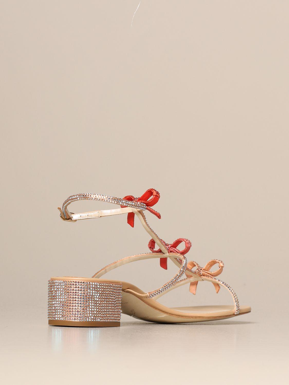 Heeled sandals Rene Caovilla: Caterina René Caovilla sandal in satin with rhinestones pink 3