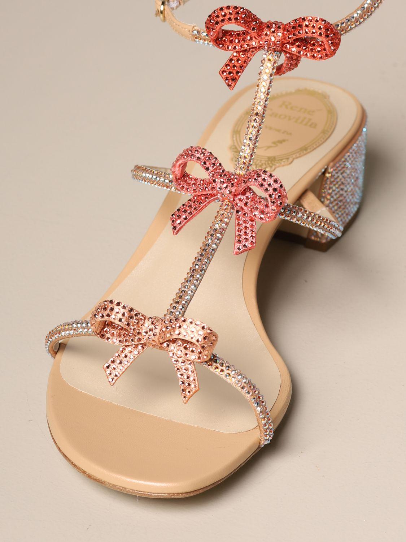 Heeled sandals Rene Caovilla: Caterina René Caovilla sandal in satin with rhinestones pink 4