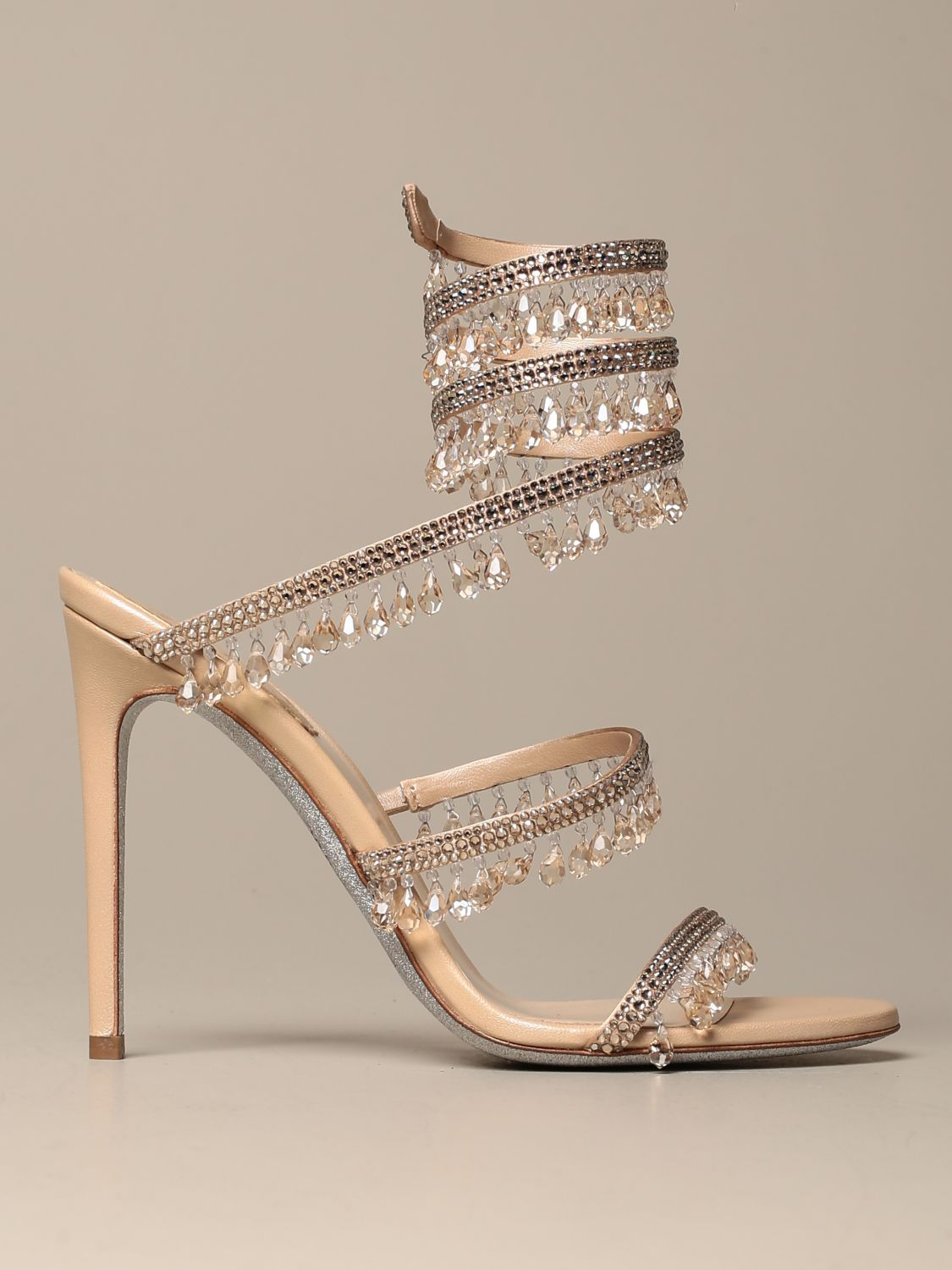 Heeled sandals Rene Caovilla: René Caovilla Chandelier sandal in satin with crystals and pendants nude 1