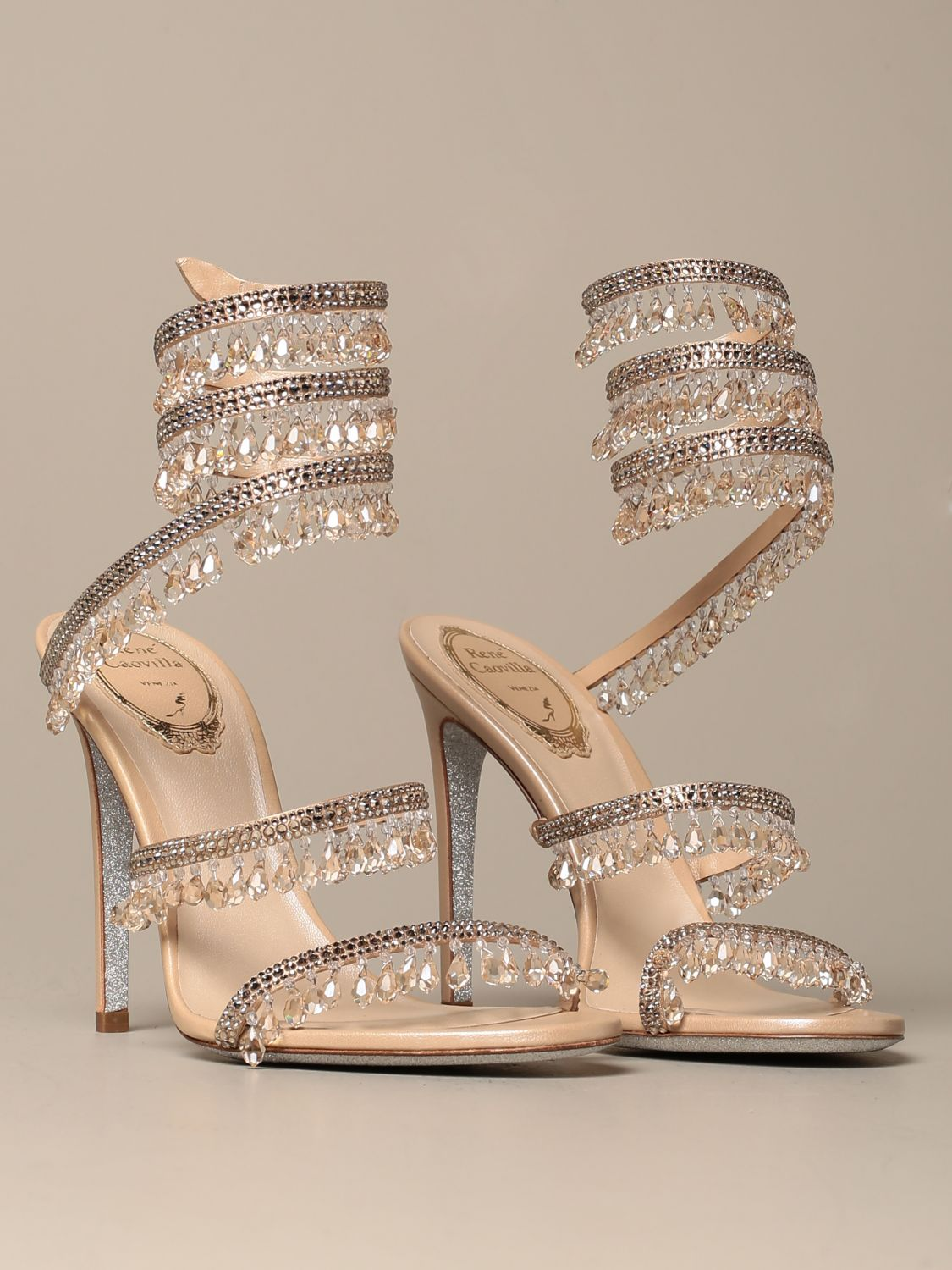 Heeled sandals Rene Caovilla: René Caovilla Chandelier sandal in satin with crystals and pendants nude 2
