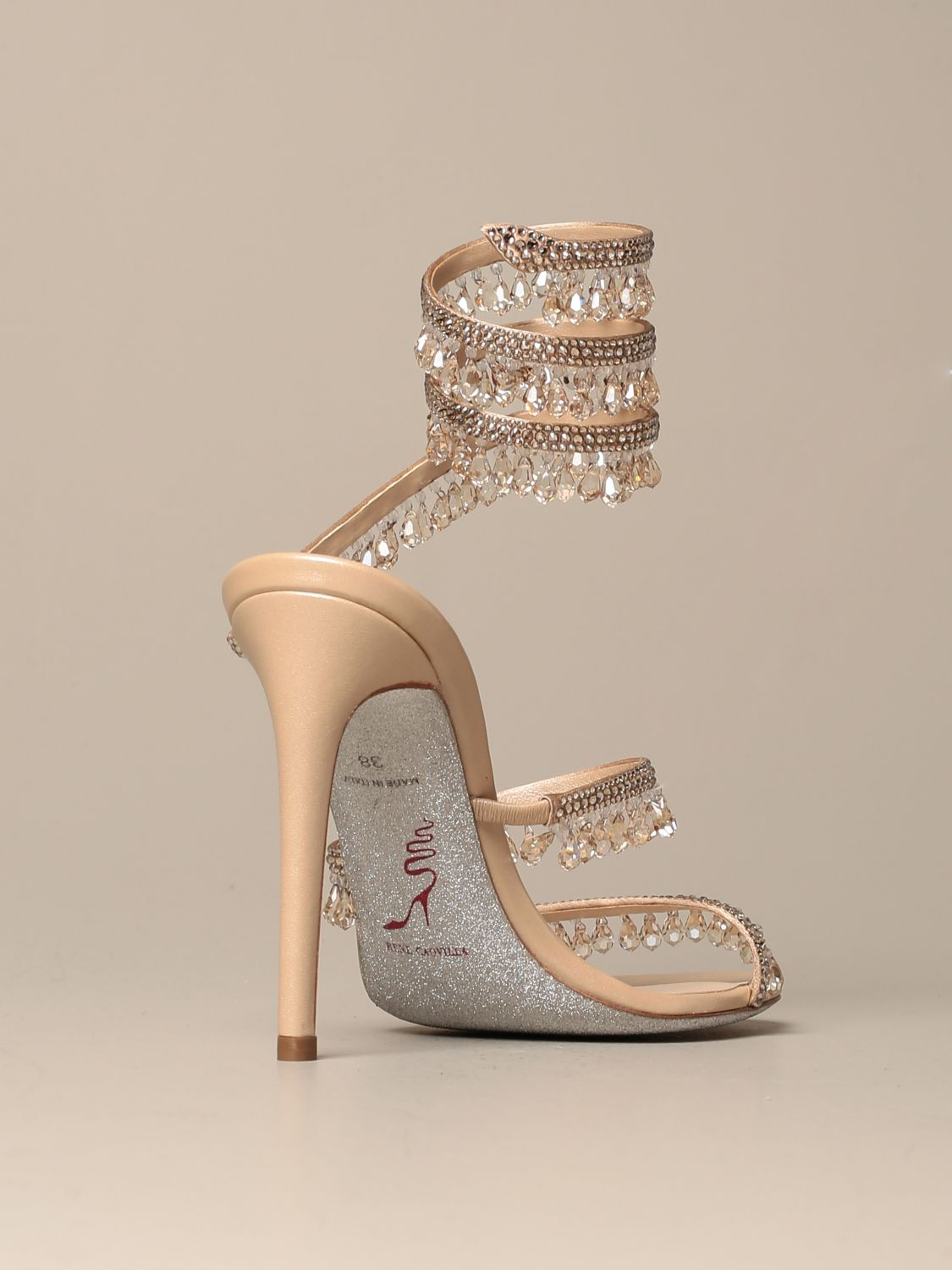 Heeled sandals Rene Caovilla: René Caovilla Chandelier sandal in satin with crystals and pendants nude 3