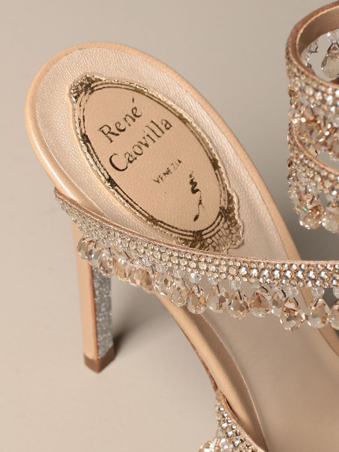 Heeled sandals Rene Caovilla: René Caovilla Chandelier sandal in satin with crystals and pendants nude 4