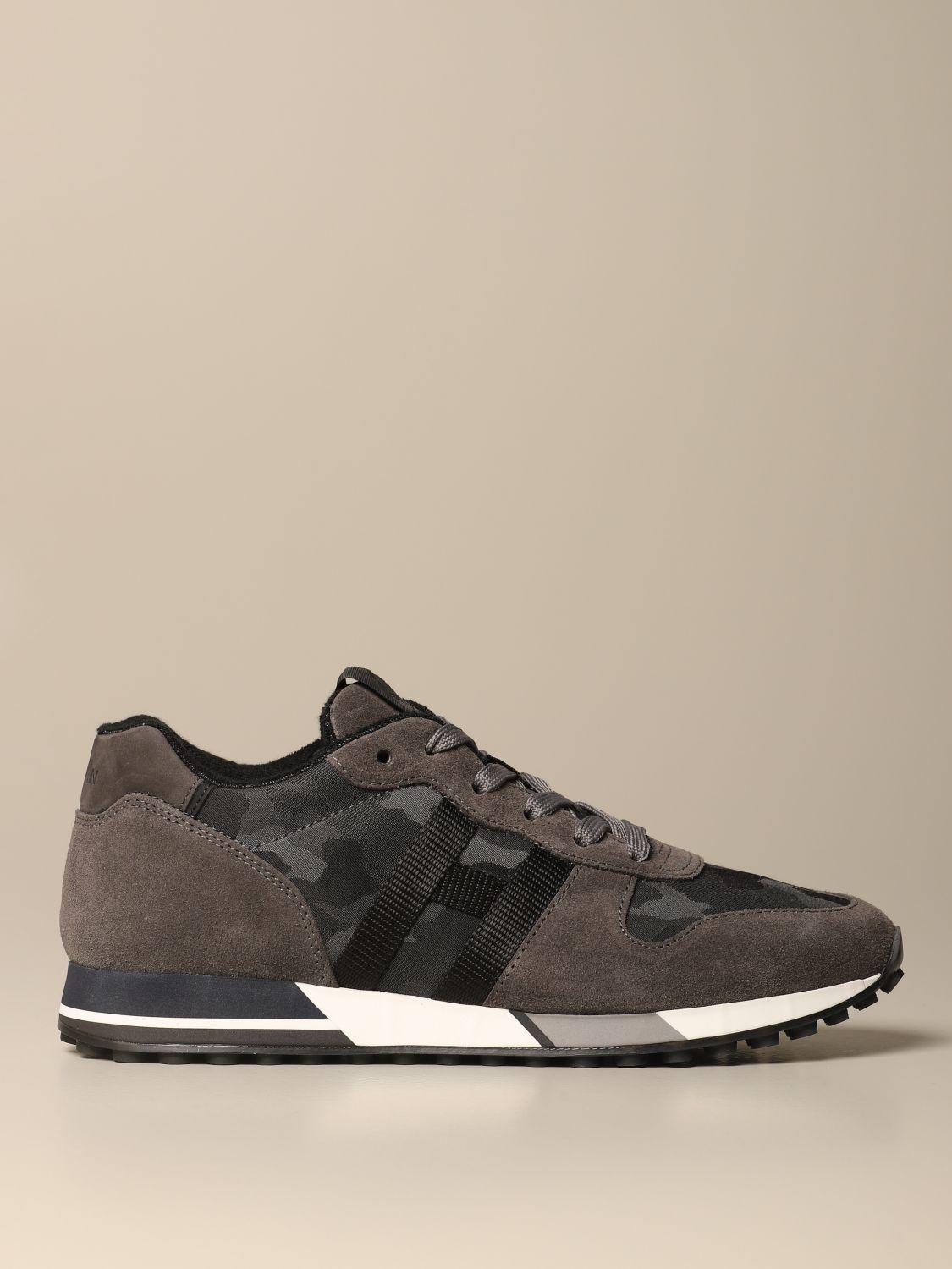 H383 running Hogan suede sneakers with stitched H