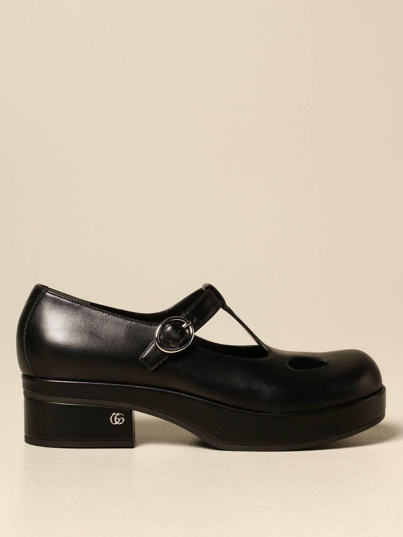 Scarpe Gucci: Scarpa Mary Jane Gucci in nappa con logo nero 1