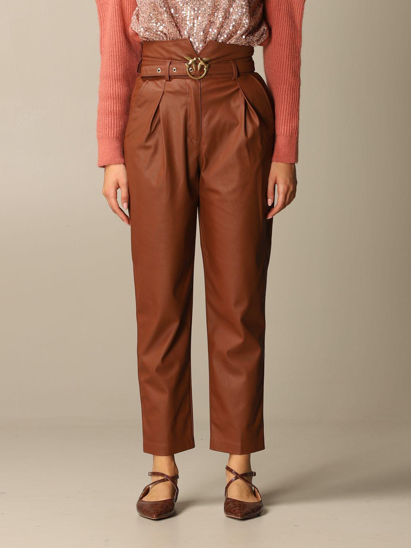 Pantalone Pinko: Pantalone Aurelio Pinko in pelle ecologica con cintura biscotto 1