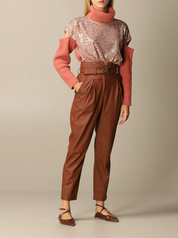Pantalone Pinko: Pantalone Aurelio Pinko in pelle ecologica con cintura biscotto 2