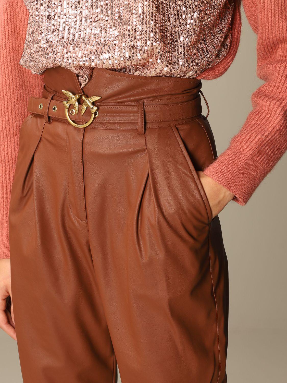 Pantalone Pinko: Pantalone Aurelio Pinko in pelle ecologica con cintura biscotto 4