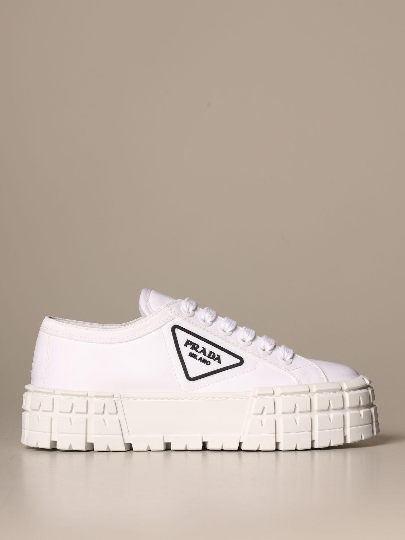 Sneakers Prada: Sneakers Prada in gabardine di nylon con logo triangolare bianco 1