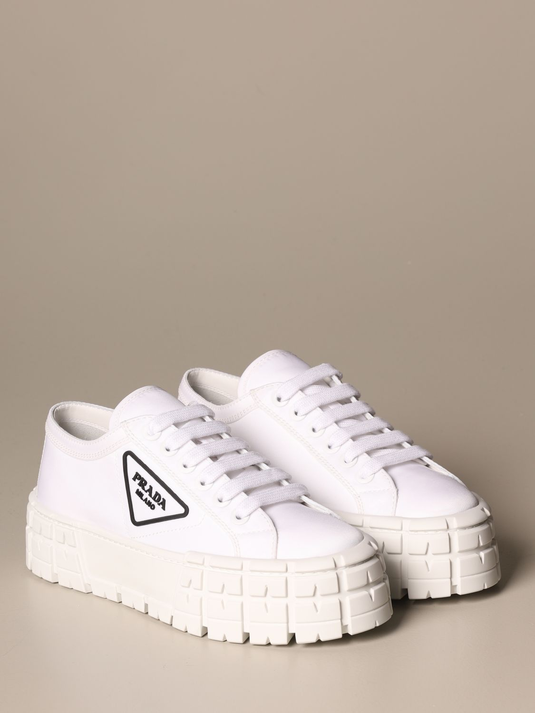 Sneakers Prada: Sneakers Prada in gabardine di nylon con logo triangolare bianco 2
