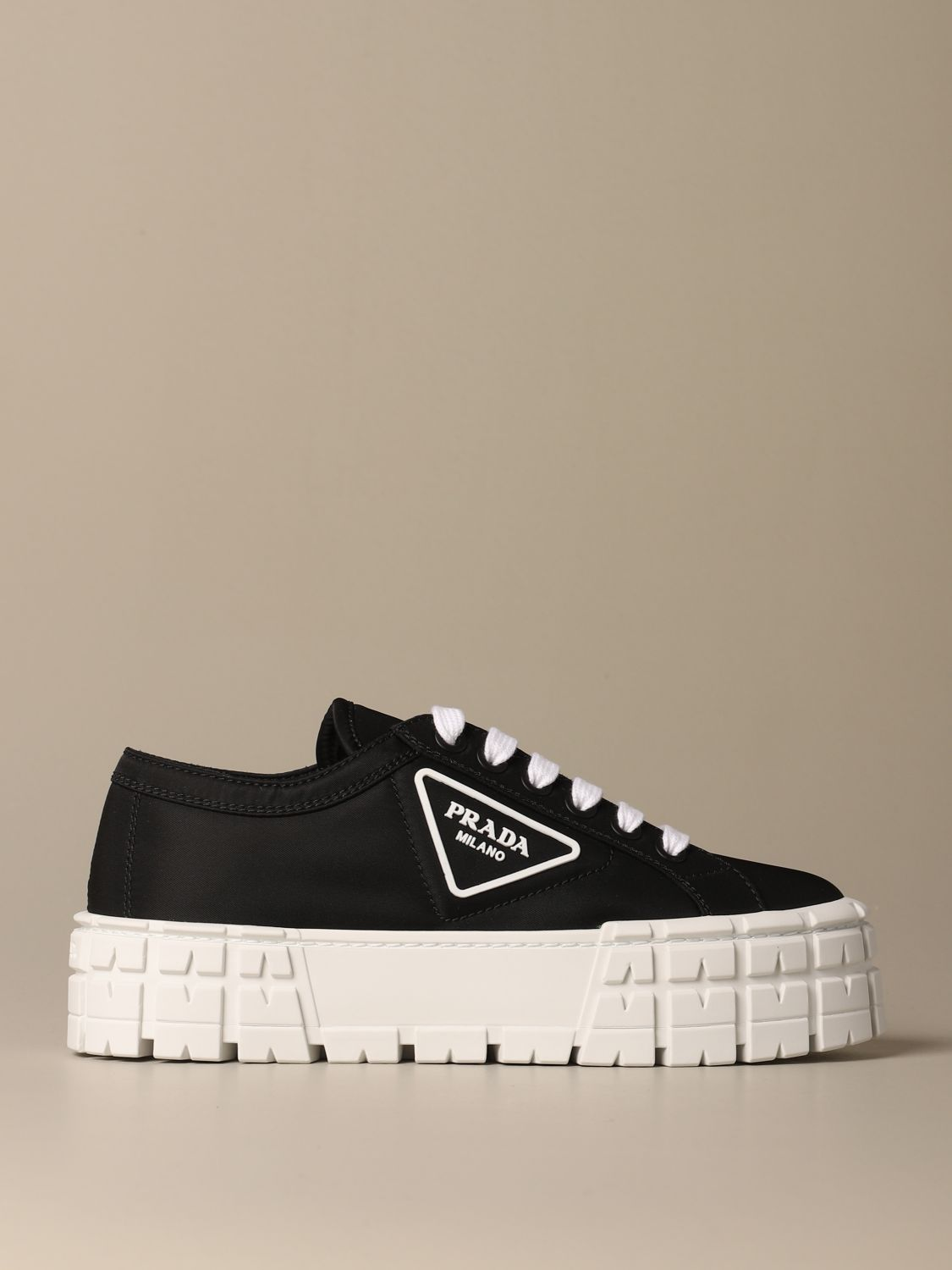 Sneakers Prada: Prada sneakers in nylon gabardine with triangular logo black 1