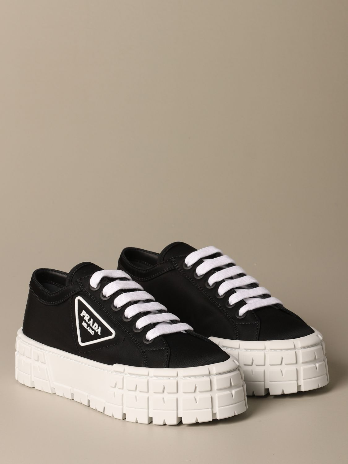 Sneakers Prada: Prada sneakers in nylon gabardine with triangular logo black 2