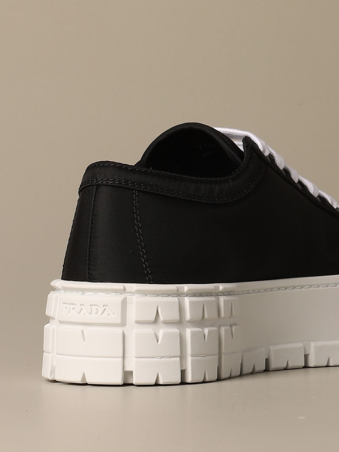 Sneakers Prada: Prada sneakers in nylon gabardine with triangular logo black 3