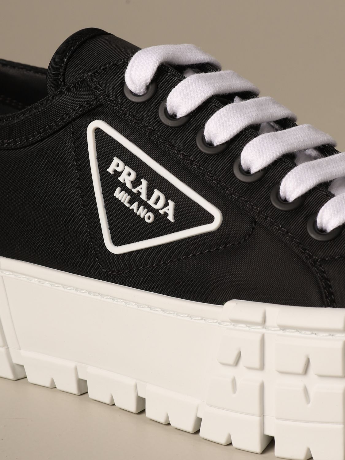 Sneakers Prada: Prada sneakers in nylon gabardine with triangular logo black 4