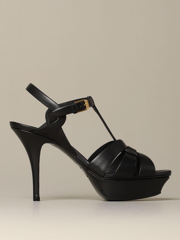 Sandales à talons Saint Laurent: Sandales Tribute Saint Laurent en cuir noir 1